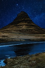Preview iPhone wallpaper Mountain, river, starry, night