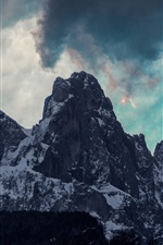 Preview iPhone wallpaper Mountains, clouds, snow, dusk, nature landscape