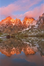Preview iPhone wallpaper Mountains, hut, lake, water reflection, snow, clouds, winter