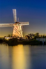 Preview iPhone wallpaper Netherlands, lights, windmill, river, bridge, night