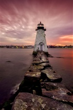 Preview iPhone wallpaper New Bedford, lighthouse, sea, night, Massachusetts, USA