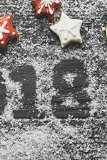 New Year 2018, cookies, dry orange slices, powdered sugar