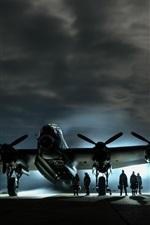 Noite, avião, pessoas