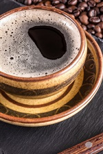 Preview iPhone wallpaper One cup of coffee, spoon, coffee beans