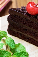 One piece chocolate cake, cherry, mint