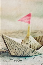 Preview iPhone wallpaper Paper boat, flag