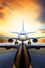 Preview iPhone wallpaper Passenger plane, front view, runway, asphalt, sunrise
