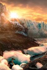 Patagonia, Argentina, ice, iceberg, stones, lake, sunrise