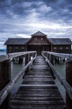 Preview iPhone wallpaper Pier, bridge, wood house, lake