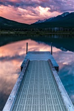 Preview iPhone wallpaper Pier, mountains, clouds, lake, dusk