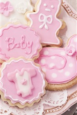 Preview iPhone wallpaper Pink cookies, plate