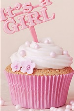 Preview iPhone wallpaper Pink cupcake, food, baby