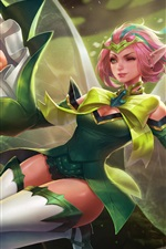 Menina de fantasia de cabelo rosa, elfo