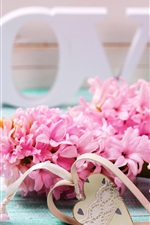 Preview iPhone wallpaper Pink hyacinth flowers, Love, heart, romantic