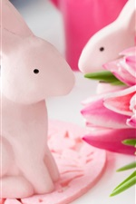 Preview iPhone wallpaper Pink tulips, rabbit toys, Easter
