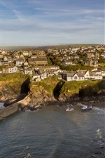 Preview iPhone wallpaper Port Isaac, England, houses, sea