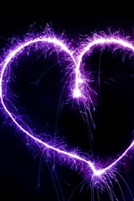 Preview iPhone wallpaper Purple love heart, fireworks, sparks