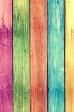 Preview iPhone wallpaper Rainbow colors wood board background