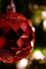 Preview iPhone wallpaper Red Christmas ball, decoration, bokeh