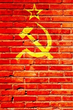 Preview iPhone wallpaper Red bricks wall, hammer and sickle
