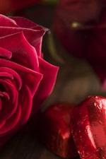 Vorschau des iPhone Hintergrundbilder Rote Liebesherzen, Rosen, Blumen, romantisch