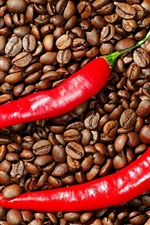 Preview iPhone wallpaper Red pepper and coffee beans