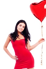 Preview iPhone wallpaper Red skirt girl and red balloon, white background