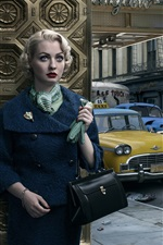 Retro, girl, cars, city, New York