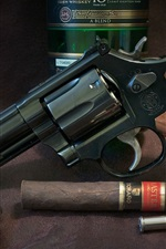 Preview iPhone wallpaper Revolver, gun, whiskey, cigar, weapon