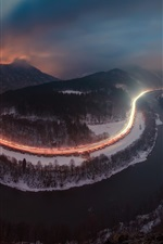 Preview iPhone wallpaper River, roads, light lines, mountains, trees, night, fog