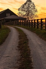 Preview iPhone wallpaper Road, fence, wood house, sunset