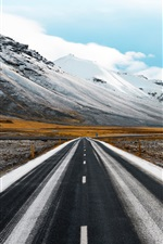 Preview iPhone wallpaper Road, mountains, snow, grass