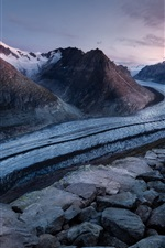 Preview iPhone wallpaper Road, mountains, snow, rocks, dusk