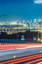 Preview iPhone wallpaper Roads, light lines, city, night, buildings, illumination
