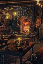 Preview iPhone wallpaper Room, fireplace, candles, skulls, wood table, art picture