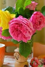 Vorschau des iPhone Hintergrundbilder Rosen, Süßigkeiten, Tasse, Stillleben