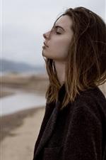 Preview iPhone wallpaper Sadness girl, black coat