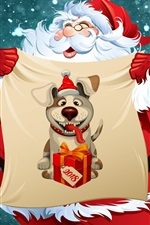 Preview iPhone wallpaper Santa, New Year 2018, dog, art picture