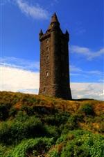 미리보기 iPhone 배경 화면 Scrabo 타워, 아일랜드, 푸른 하늘, 구름