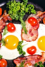 Preview iPhone wallpaper Scrambled eggs, tomatoes, pan, greens, meat
