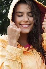Preview iPhone wallpaper Smile girl in rain