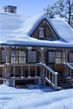 Preview iPhone wallpaper Snow, house, trees, car, anime