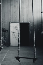 Some ropes, room, black and white picture