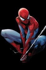 Preview iPhone wallpaper Spider-Man, Marvel Comics, art picture, black background