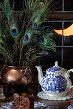 Preview iPhone wallpaper Still life, tea, cups, peacock feathers, window, lamp, moon
