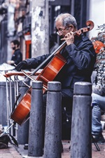 Preview iPhone wallpaper Street, cello, music, artist