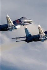 Preview iPhone wallpaper Su-30 SM fighters, two aircrafts
