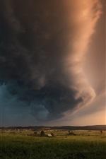 Preview iPhone wallpaper Summer, storm, black clouds, lightning, village, grass