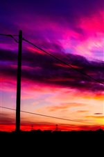 Preview iPhone wallpaper Sunset, red sky, clouds, wire
