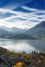 Preview iPhone wallpaper Switzerland, Interlaken, Lake Thun, city, mountains, Alps, autumn